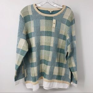 New Talbots plaid pull over sweater